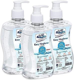 Bio Schutz Anti-bacterial Instant Hand Sanitizer 500ml - Pack of 3 | Hand Sanitizer Gel-Fragrance Free Hand Sanitizer with...