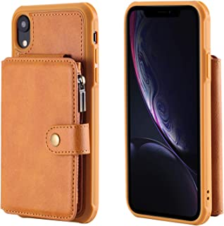 Cover Case for iPhone XR,Holder PU Leather Brown Waterproof 6.1inch Holder Magnetic Buckle Zipper Coin Pocket 8 Card Slot (ID Card,Credit Card) Accurate Cutouts Gift Girls Boys