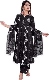 Navisa Women Cotton Straight Kurta Palazzo and Dupatta Sets with 3/4 Sleeve in V Neck Size(S to XXL)