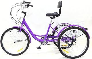 """DYJD 3 Vélo à 3 Roues 24""""7 Vitesse Adulte Tricycle Tricycle Vélo Vélo Pédale à vélo avec Panier,Violet"""