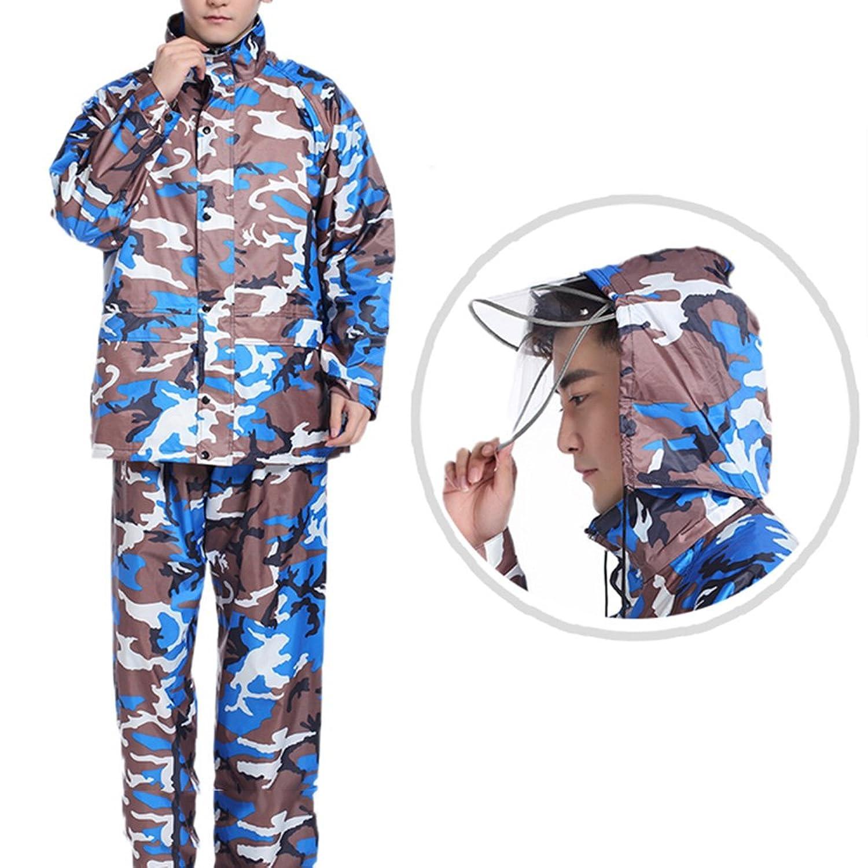 XRXY ファッションカモレインコートセット/大人用アウトドアレインコート/全身防水シックティーンポンチョ(4色展開) ( 色 : B , サイズ さいず : XXXL )