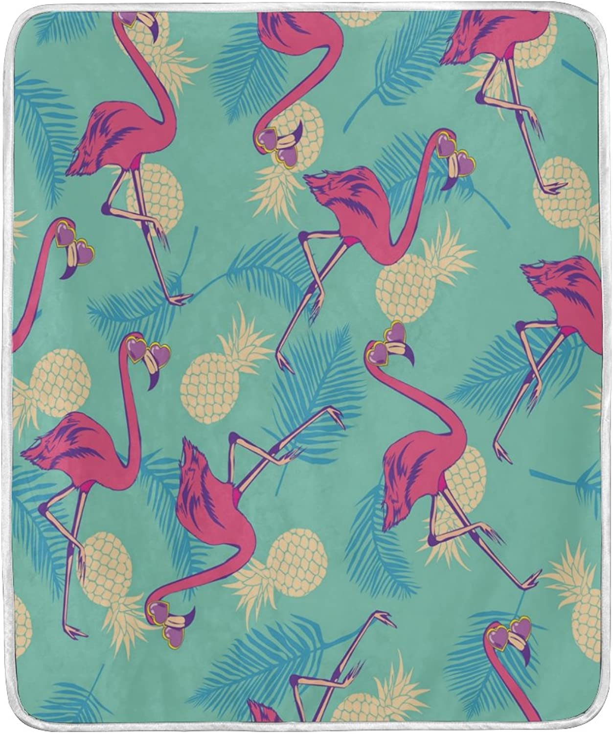 ALAZA Home Decor Vintage Flamingo Fruit Pineapple Palm Tree Blanket Soft Warm Blankets for Bed Couch Sofa Lightweight Travelling Camping 60 x 50 inch Throw Size for Kids Boys Women