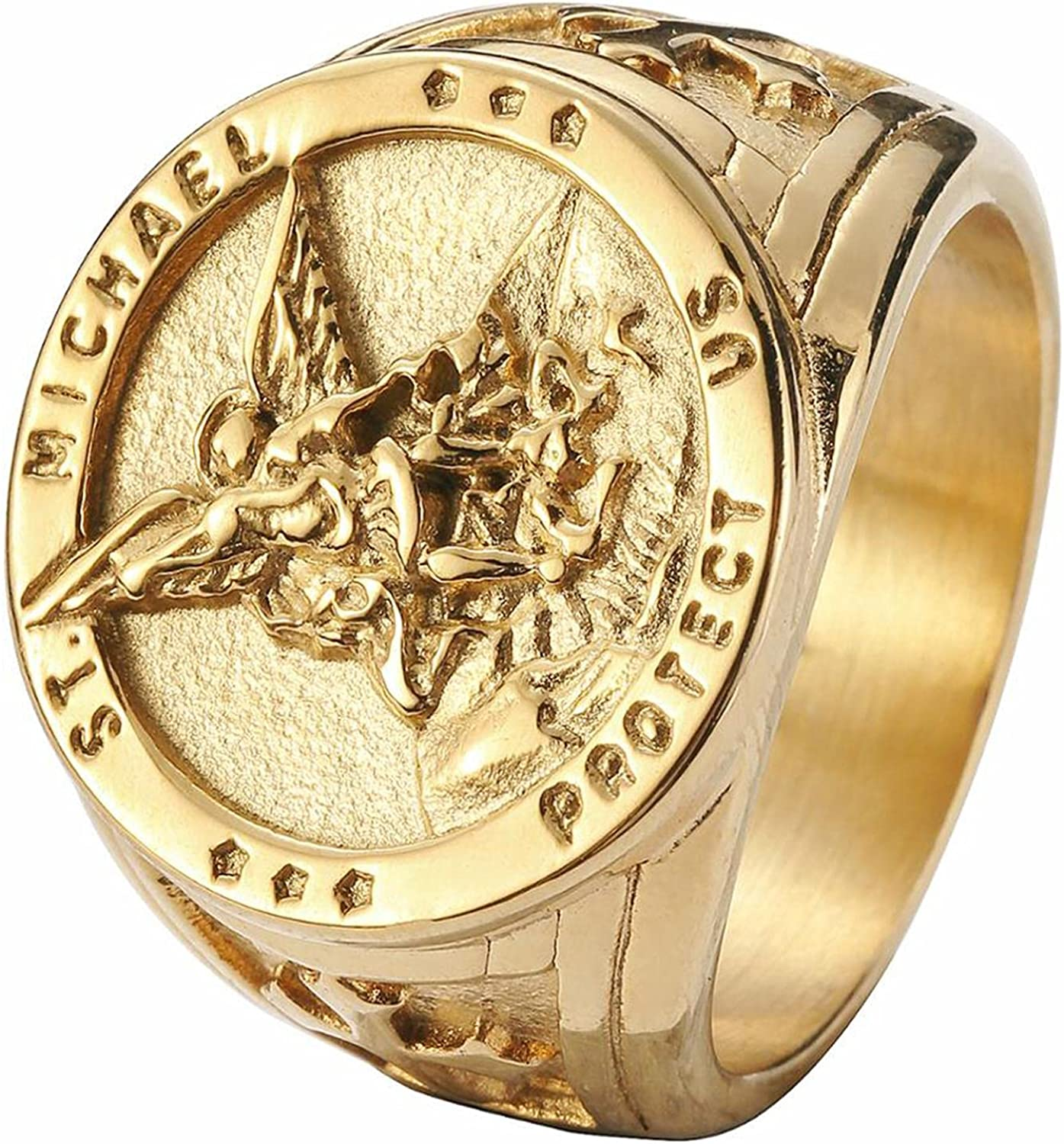 Size 7-14 Cross Saint Michael Protect Ring 316L Cheap bargain Ste Us Stainless Houston Mall