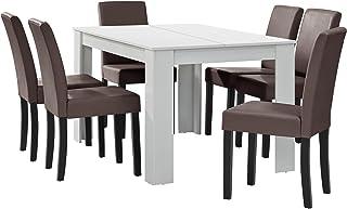 [en.casa] Table à Manger Blanc Mat avec 6 chaises Marron Cuir synthétique rembourré 140x90