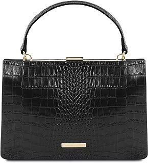 Iris Croc print leather handbag Black