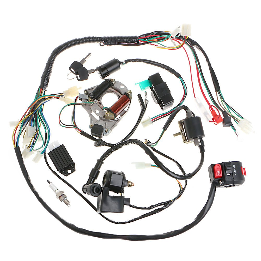 110cc atv wiring amazon com Suzuki ATV Wiring minireen full wiring harness loom kit cdi coil magneto kick start engine for 50cc 70cc 90cc
