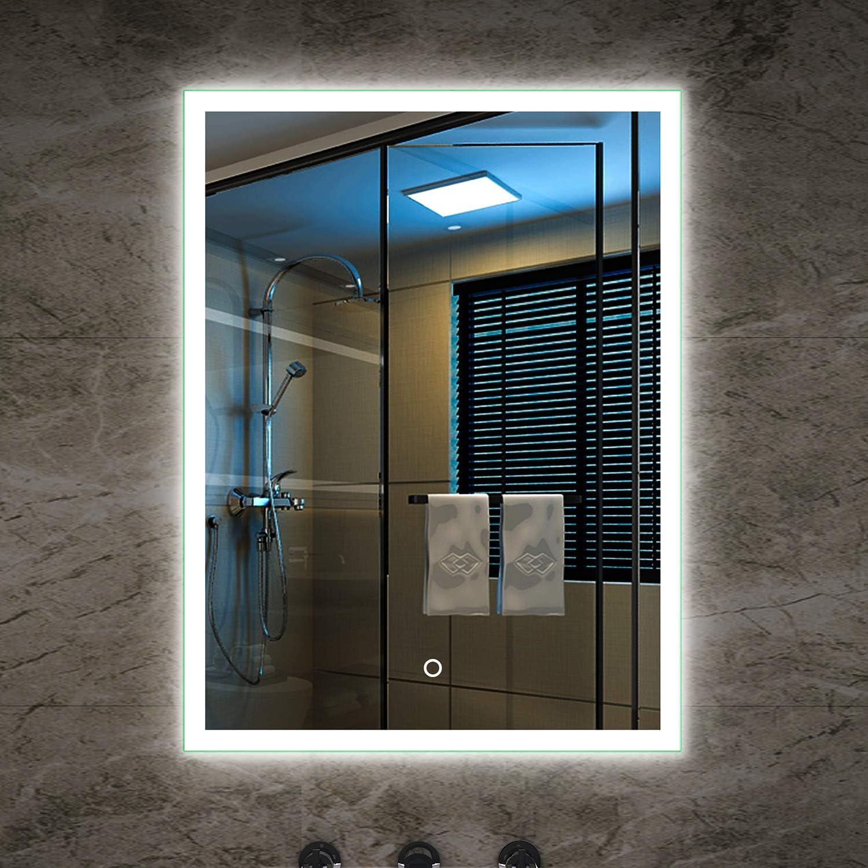 Tonffi Badspiegel LED Spiegelleuchte 80x60CM Wei 20W IP44 Wand Spiegel mit Beleuchtung 6000K (Typ3, 60  80 CM (3))