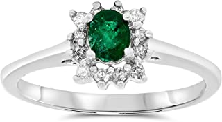 JewelryBliss 14k White Gold Emerald and Diamond Halo Ring, Birthstone of May
