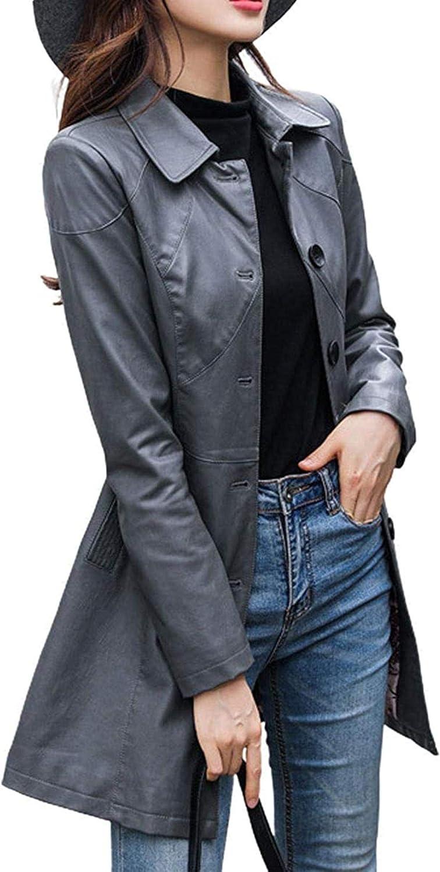 Women's Stylish Faux Leather Long Jacket Single Breasted Walking Trench Coat