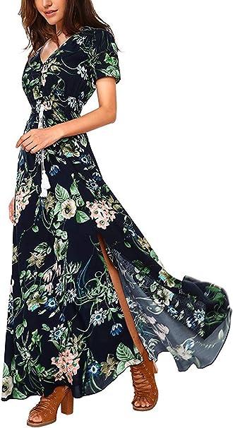 Semir Sexy Damen Maxikleid Boho Blumendruck Kleid V Ausschnitt Wickelkleider Fur Frauen A Linie Partykleid Gr S 266 Blau Amazon De Bekleidung