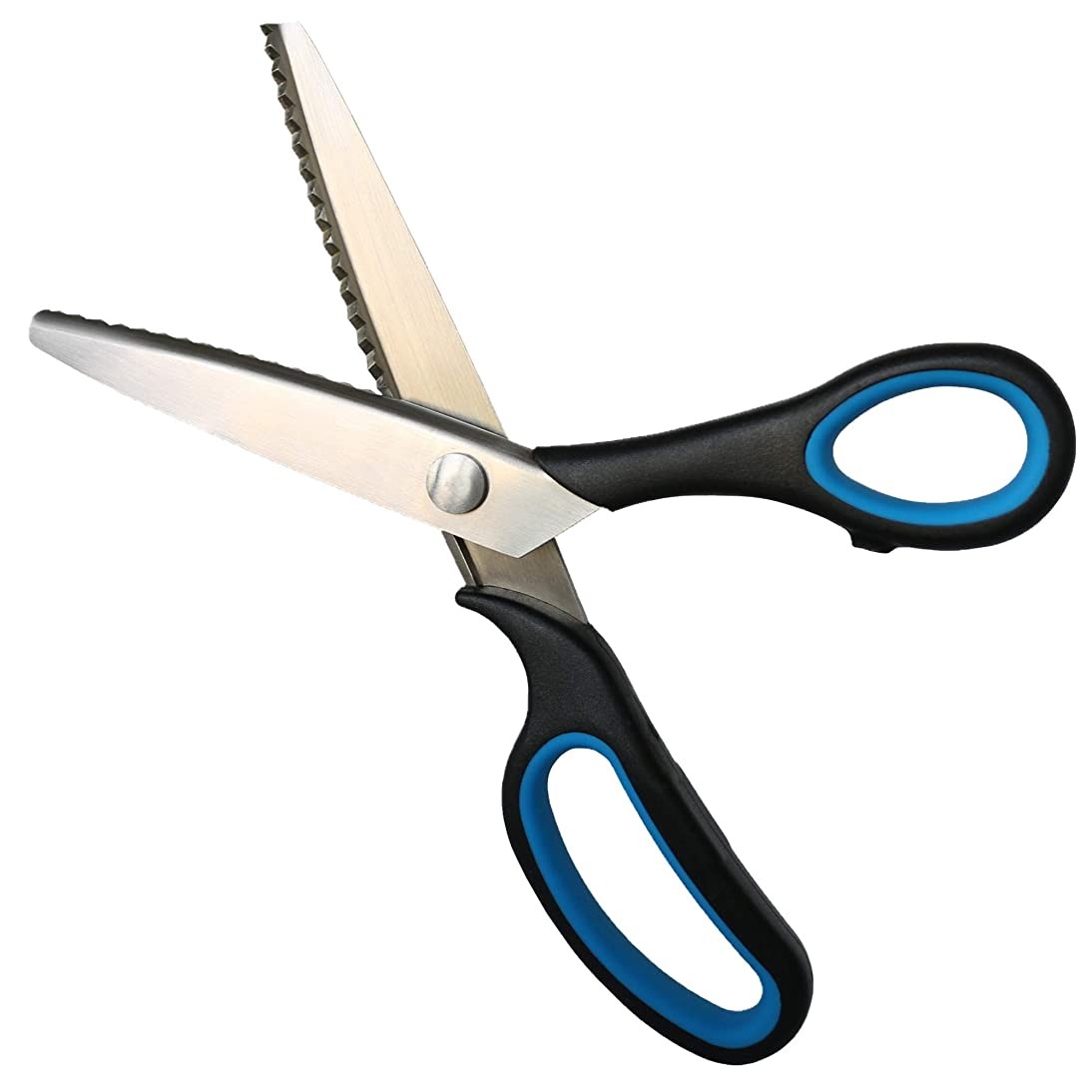 eGoodn Pinking Shears 9 Inch Craft Zig Zag Scissors Stainless Steel Serrated Blades Ergonomic Soft TPR Rubber Handle for Dressmaking Sewing Craft (Black & Blue)