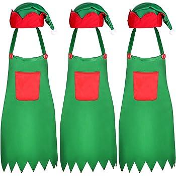 6 Pieces Christmas Apron and Hat Set - Christmas Elf Apron and Elf Hat for Christmas Party Costume Supplies