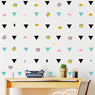 94pcs/Set Triangle Wall Stickers Vinyl Decal, DIY Home Decor Kids/Children Room Decor Stickers, Lovely Crown Clouds Bow Tr...