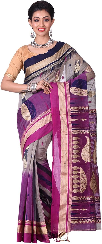 Exclusive Indian Ethnicwear Silk Cotton Fushia and Grey Coloured Bengal Handloom Saree