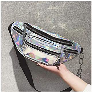 Holographic Fanny Pack for Men and Women - PU Leather Punk Waist Pack with 4 Pockets for Running, Hiking, Traveling, Camping, Partying, Jogging