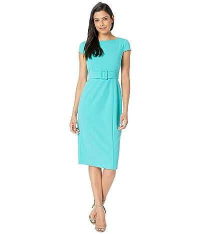 Donna Morgan Crepe Cap Sleeve Inset Belt Sheath Dress (Seagreen) Women