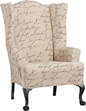 "Surefit Stretch Pen Pal by Waverly One Piece Wing Chair Slipcover-T-Cushion Form Fit-95% Polyester/5% Spandex – Up to 45"" ..."