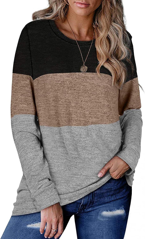 FABIURT Sweatshirts for Women, Womens Color Block Stripe Print Long Sleeve Pullover Tunic Loose Fit Top Crewneck Blouses