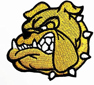 Head Bulldog Pitbull Face Left Yellow Cartoon Animal Iron on Embroidered Patch Supplies for Jacket Bags Jeans Backpack Clothes DIY