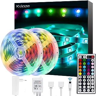 Ksipze Tiras LED 2x5m (10m en total) luces LED Habitacion 20 Colores 8 Modos para Habitación, Dormitorio, TV, Hogar, Cocina, Decoración Navideña, Tira de Iluminación LED RGB Brillante