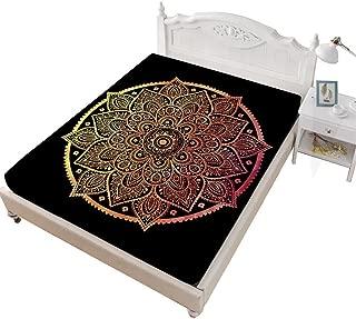 Rhap Full Fitted Sheet, Tie-Dye Printed Full Size Sheet, Mandala Pattern Tie Dye Home Decor 1 Piece Full Size Deep Pocket Bedding Fitted Sheet