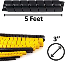Electriduct 3 Inch Heavy Duty Spiral Wrap HDPE Flexible Plastic Cable Sleeve Hose Protector 5 Feet - Black