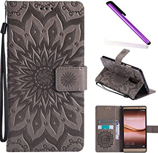 HMTECH Huawei Mate 8 case Sun Flower Embossed Floral Wallet Case with Card Cash Slots Kickstand Premium PU Leather Flip St...