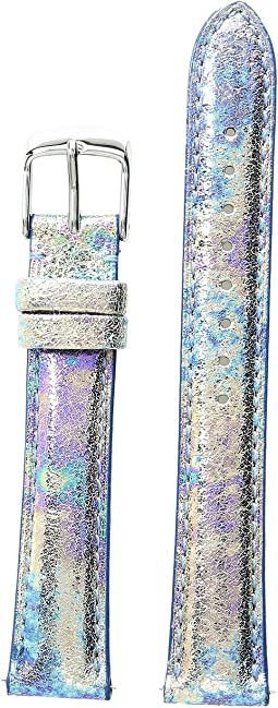 Michele - 16mm Moonstone Metallic Leather Strap Blue