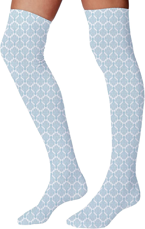 Men's and Women's Fun Socks,Ornamental Floral Tiles Mosaic Oriental Lattice Design Geometric Arabesque