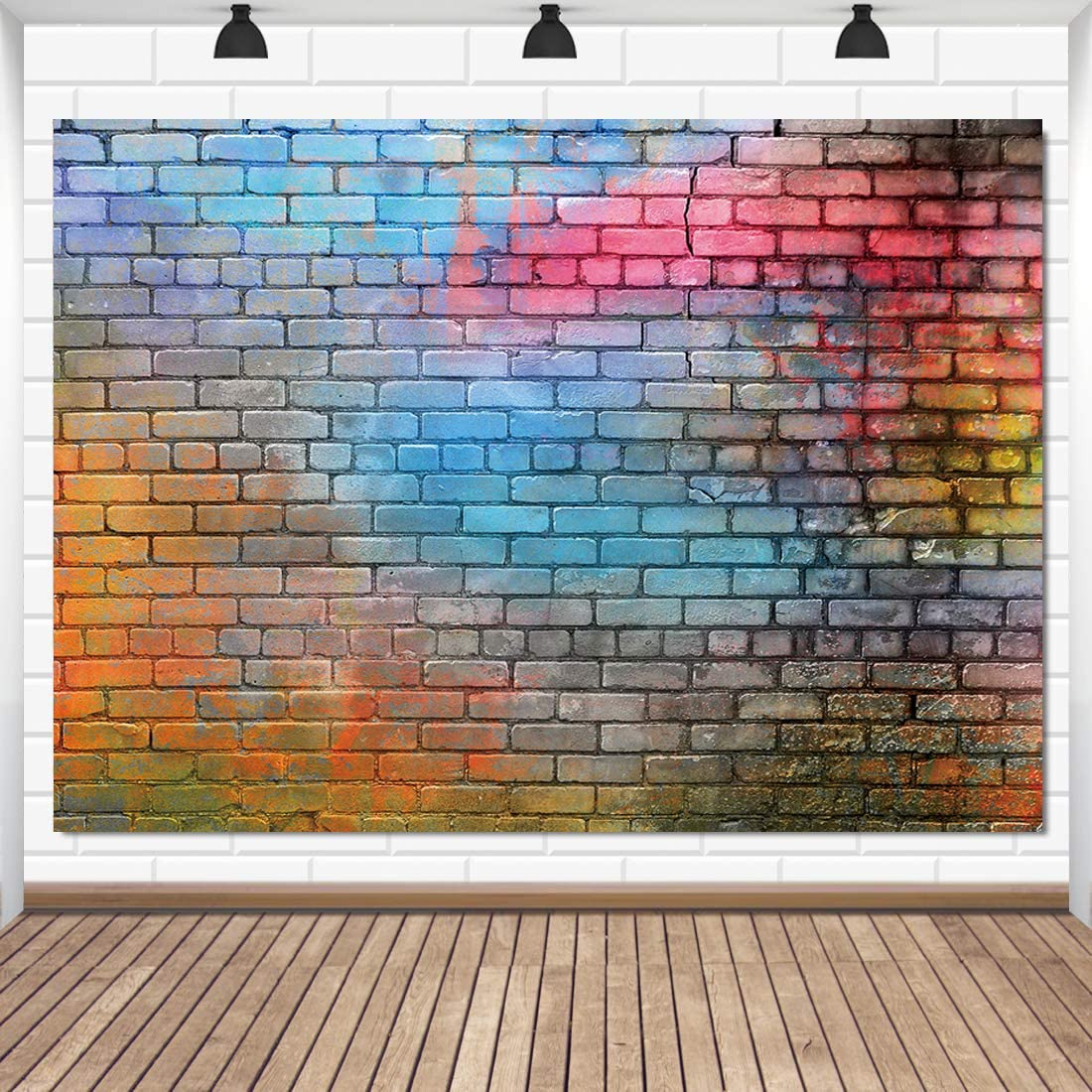 LTLYH 6x4ft Colorful Brick Wall Photo Backdrop Baby Birthday Wedding Party Photography Background Decor Studio Photo Booth A081