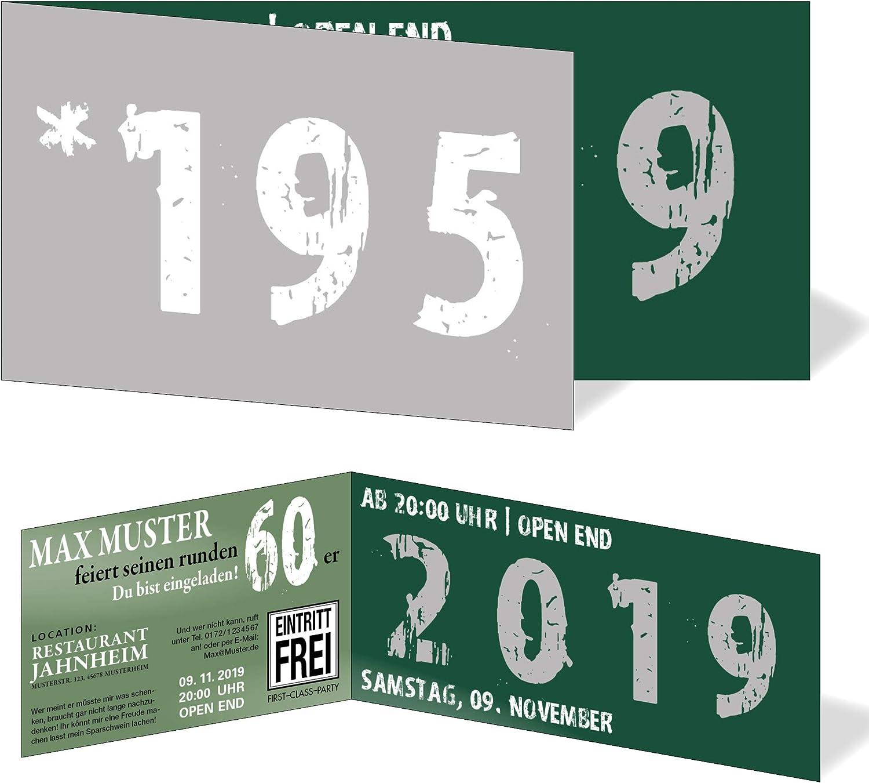 Runder Geburtstag Einladungskarten 60 Jahre Geburtstagseinladungen - Zeitsprung Einladung für für für runden Geburtstag 60er Feier Dunkelgrün-Silber (50) B07QKXW87S | Vorzügliche Verarbeitung  f81a62