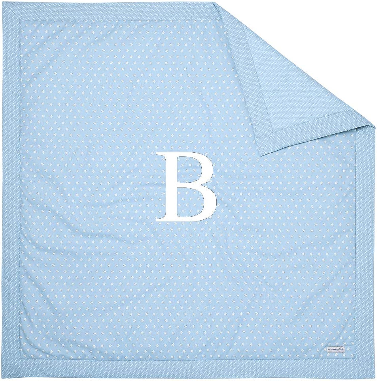 Blausberg Baby - Krabbeldecke Hellblau mit WUNSCH-Buchstabe  B  für den Boden Spieldecke Laufgittereinlage, mit klteabweisender Einlage, oben 100% Wolle, umschlossen von 100% Baumwolle OEKO-TEX Standard 100