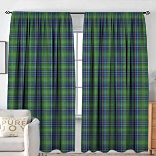 NUOMANAN Rod Pocket Curtains Plaid,Grunge Looking Vibrant Colored Scottish Folkloric Pattern with Cultural Retro Design, Multicolor,Insulating Room Darkening Blackout Drapes for Bedroom 54