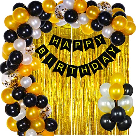 Party Propz Happy Birthday Decoration Kit Combo - 42pcs Metallic Confetti with Birthday Bunting Golden Foil Curtain /Happy Birthday Decorations Items Set