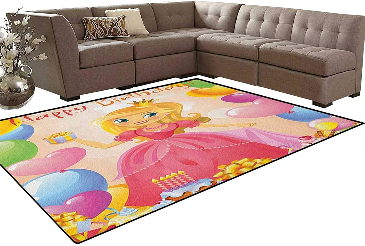 Birthday Girl Cute Sweet Princess Themed Image with Hearts and Balloons Image Floor Mat Rug Indoor Front Door Kitchen and Living Room Bedroom Mats Rubber Non Slip
