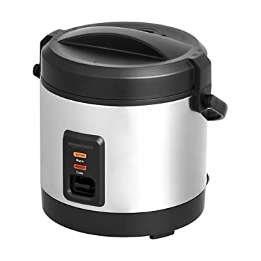 Amazon Basics - Mini Rice Cooker with Accessories, 4 Cups Cooked Rice