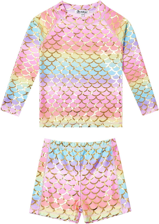 Jxstar Girls Rash Guard 2-Piece Max 62% OFF Unicorn List price Swimwe Swimsuits Mermaid