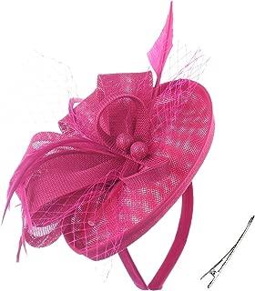 FELIZHOUSE Fascinator Hats Feather Satin Tea Party Hat Wedding Church Bridal Headwear for Women Girls