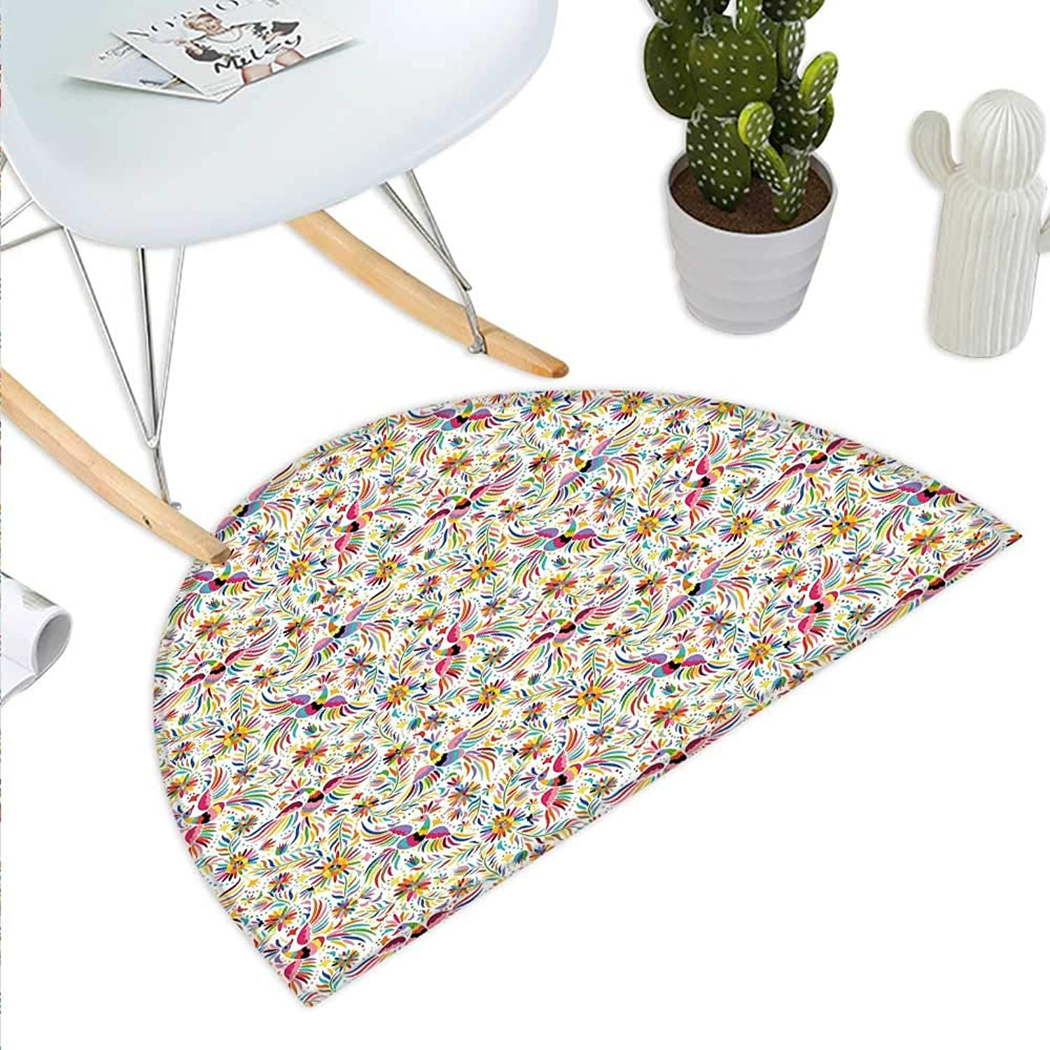 Mexican Semicircle Doormat colorful Nature Inspired Ethnic Pattern Birds Flowers Leaves and Dots Creativity Halfmoon doormats H 39.3  xD 59  Multicolor