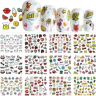 12pcs Nail Stickers Decals Cartoon Pop Hot Summer Designs Nail Art Water Transfer Stickers Sliders Polish Manicure