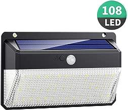 Luce Solare LED Esterno, Kilponen 108 LED Super Luminosa Lampada Solare con Sensore di Movimento [270º Illuminazione 1 Pezzi] Luci Solari da Parete Impermeabile Solare con 3 Modalità per Giardino
