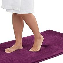 Genteele Memory Foam Bath Mat Non Slip Absorbent Super Cozy Velvet Bathroom Rug Carpet (22 inches X 36 inches, Eggplant)