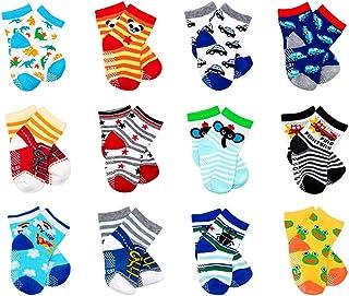 LGNTXDC 12 Pair Unisex Baby Anti-Slip Socks, 1 to 3 Years Old Toddler Infants Kids Sock Cute Design Curious, Security Fun ...