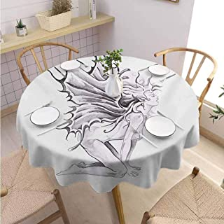 DILITECK Tattoo Pattern Round Tablecloth Artistic Pencil Drawing Artwork Print Nude Fairy Opening its Angel Wings Print Outdoor Picnic Diameter 50