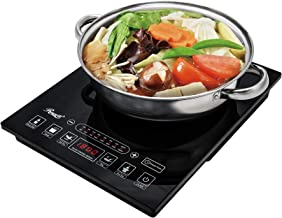 """Rosewill Induction Cooker 1800 Watt, 5 Pre-Programmed Induction Cooktop, Electric Burner with Stainless Steel Pot 10"""" 3.5 ..."""