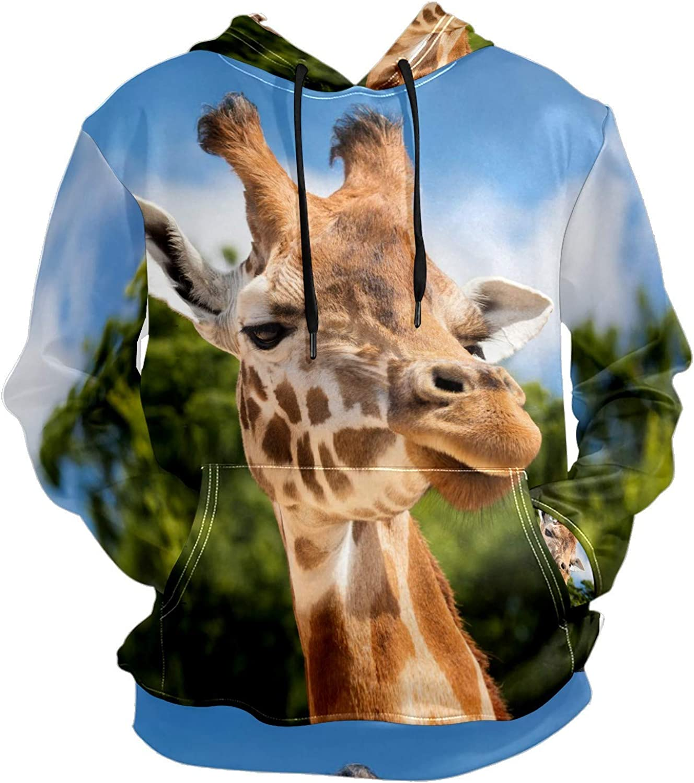 Men's Sport Hoodie Giraffe Wild Animal Sunny Day Big and Tall Hoodies for Men Women Oversized Hooded Sweatshirt Hip Hop Pullover Hoodie Midweight Hood for Boys Girls