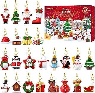 LIOOBO クリスマス 吊り飾り クリスマスツリー オーナメント カラフル アドベントカレンダー お祭り クリスマス パーティー 24個セット