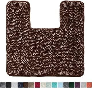 Gorilla Grip Original Shaggy Chenille Square U-Shape Contoured Mat for Base of Toilet, 22.5x19.5 Size, Machine Wash and Dry, Soft Plush Absorbent Contour Carpet Mats for Bathroom Toilets, Brown