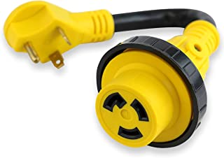 LeisureCords Trailer dogbone power cord plug adapter 30 amp male to 30 amp female locking connector with LED Power Indicator