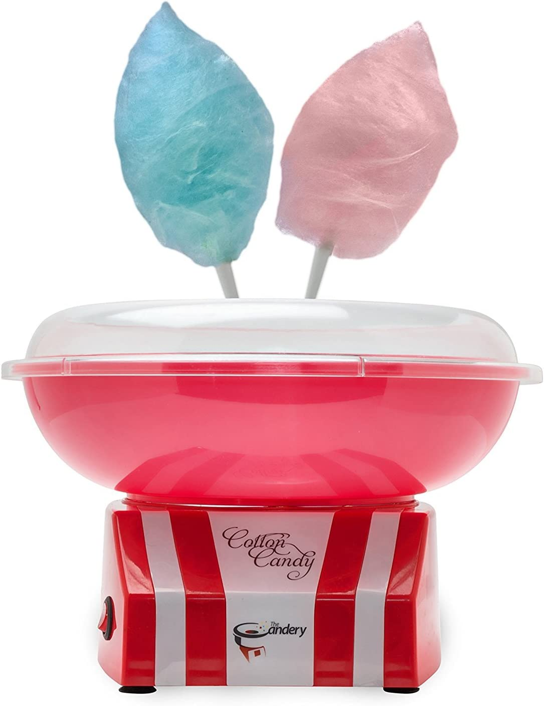 The Candery Cotton Candy Machine and Sugar Kit Raspberry Blue Includes 50 Paper Cones /& 3 Flavors /& Sugar Scoop Kid-Friendly and Easy-to-Assemble Upgraded Strawberry Vanilla